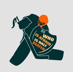 Vector illustration of ice hockey goalie with knight shield