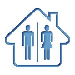 Logo maison et toilettes.