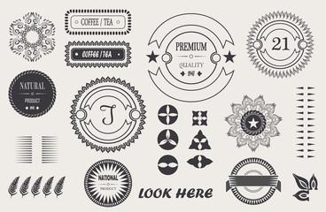 vector cool vintage elements for your design, baroque frame, logo, labels, frames with signature.