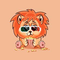 Lion cub watching a movie