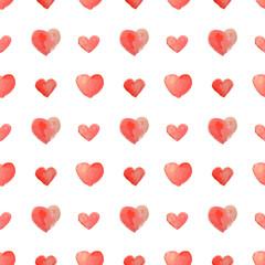 Seamless pattern of beautiful watercolor hearts