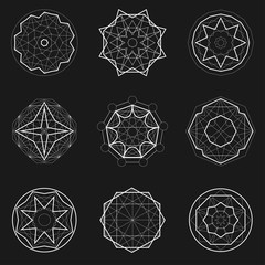 Set of Sacred geometry icons, geometric shapes, magic signs, witch symbol. Geometric Mandala.