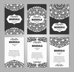Set of Invitation Cards with colorful flower mandala. Design template for flyer