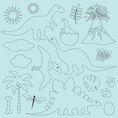 black outline dinosaurs