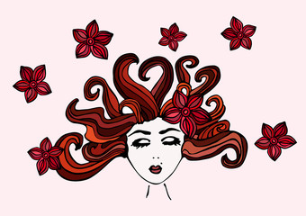 Beautiful hand drawn girl with closed eyes, scattered brown hair and with a flowers in her hair, vector illustration