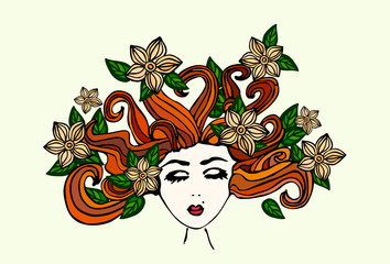 Beautiful hand drawn girl with closed eyes, scattered brown hair, with flowers and green leaves in her hair, vector illustration