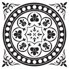 Hand drawing tile pattern in black and white colors.