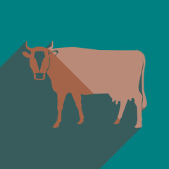 Flat icons with shadow of cow