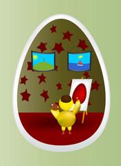 Цыпленок в яйце пишет картину