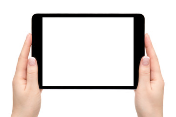 Female hands hold mobile device on a white background.