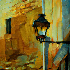 old vintage lantern in gothic quarter barcelona,painting by oil