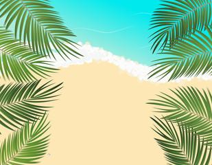 Summer Time Palm Leaf Seaside Vector Background Illustration
