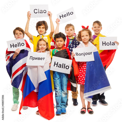 Kids greeting each other in different languages stock photo and kids greeting each other in different languages m4hsunfo