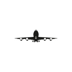 simple black airplane icon on white background