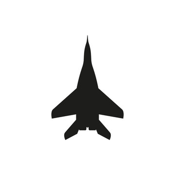 simple black Jet fighter icon on white background