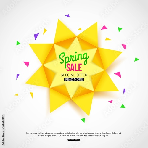 Sale Vector Background With Paper Sun Sale Banner Template With