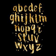 Gold foil glittering Brush Letters. Hand made Alphabet lettering in gold. Vector illustration.
