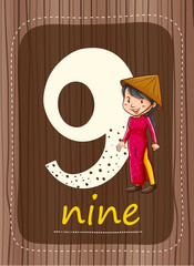 Flashcard number 9 with number and word