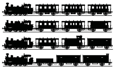 Old black steam trains / Hand drawing, vector illustration