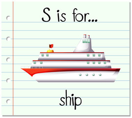Flashcard letter S is for ship