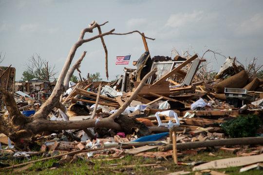Tornado Neighborhood Destruction Stars and Stripes