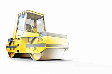 Small Road roller Objects sketch and Construction Industry Concept on a white backround