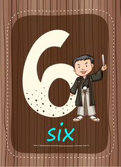 Flashcard number 6 with number and word