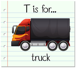 Flashcard letter T is for truck