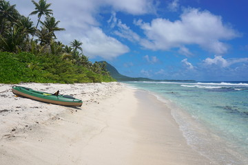 Kayak on a sandy beach, motu Muri Mahora, Huahine island, Pacific ocean, French Polynesia