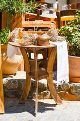 tavern table in a Greek village