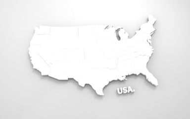 3D rendered white map of USA isolated on grey background