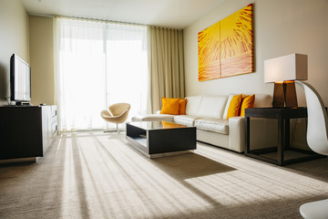 Sofa, coffee table and television in modern living room