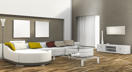 3d rendering day light colorful living room with parquet floor