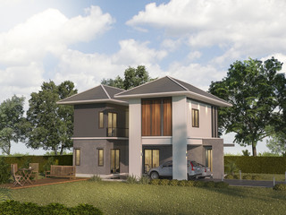 3d rendering twin house with garden terrace