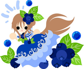 The illustration of the girl in the blueberry dress
