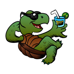 Cartoon Turtle Drinking Cocktail.