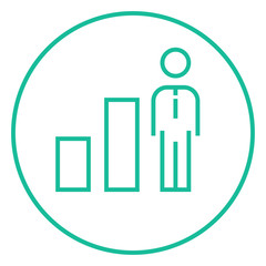 Businessman and graph line icon.