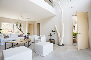 Living room and wall art in modern home