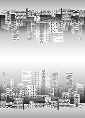Black and white illustration with city buildings and skyscrapers made of paper for infographics, design, cover, card and your creativity