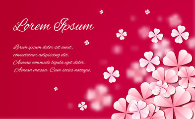 Delicate template of card with paper flowers and place for text. Vector element for banners sites, design of printed products, greeting cards, and your design