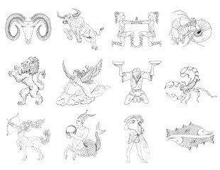 Hand drawn zodiac signs and symbols set