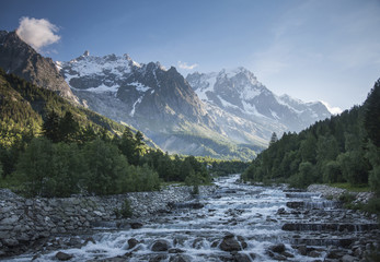 Mont Blanc over remote stream, Courmayeur, Italy