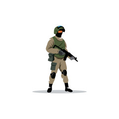 Commando man. Police officer in uniform and face mask. Vector Illustration.
