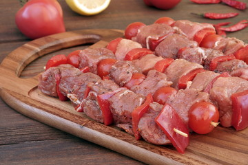 Uncooked Marinated Kebabs On Skewers Ready For BBQ Grilling