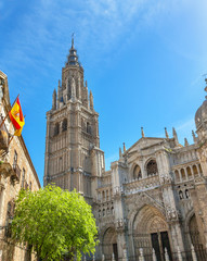 Cathedral Spanish Flag Toledo Spain