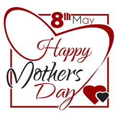 Happy Mothers Day lettering card. Typographic design. Vector vintage greeting card with lettering. Vector illustration