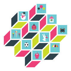 Collection of colorful flat kids design. Vector.