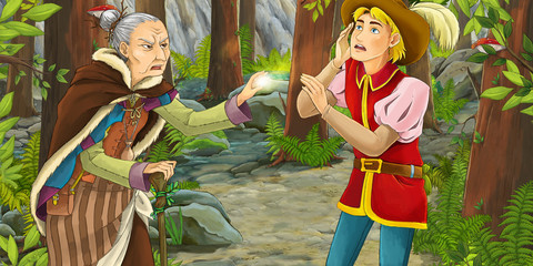 Cartoon scene with a noble man and a witch that cast spell on him - illustration for children