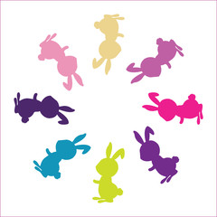 colourful friendly rabbits isolated multi-colour creative bunny. Vector