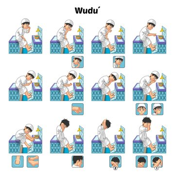 Muslim Ablution or Purification Ritual Guide Step by Step Using Water Perform by Boy